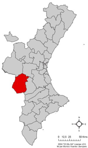 Valle de Cofrentes - Image: Localització de la Vall de Cofrents respecte del País Valencià