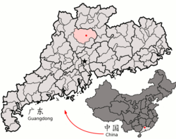 Location of Yingde within Guangdong (China).png
