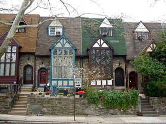 Terraced houses in Upper Darby, Pennsylvania, an inner-ring suburb of Philadelphia. Locust St Upper Darby.jpg