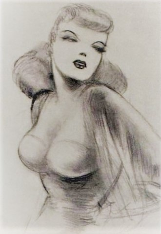 Lois Lane - An early sketch of Lois Lane by Joe Shuster, modeled on Joanne Carter.
