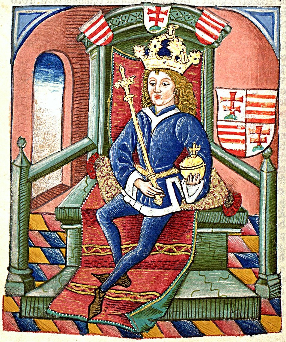 A crowned young man sits on a throne