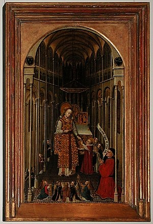 Annunciation (van Eyck, Washington) - Le sacerdoce de la Vierge (The Priesthood of the Virgin), 1425-50, Louvre, unknown French artist