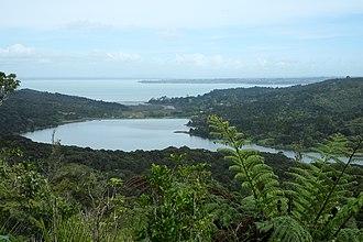 Lower Nihotupu Reservoir - Looking south, the reservoir from the Rainforest Express bush tram line.