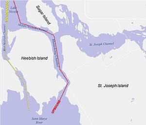Great Lakes Waterway - The shipping channels pass on opposite sides of Neebish Island