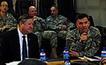 Lt. Gen. William B. Caldwell IV, commander NATO Training Mission - Afghanistan, talks with the Honorable Michael Donley (4330636960).jpg