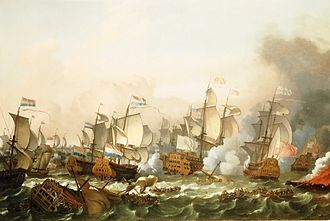 Action at Barfleur - Battle of Barfleur 1692, French flagship Soleil Royal is shown in the center (by Ludolf Bakhuizen)