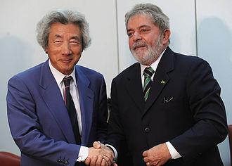 Brazil–Japan relations - Former Brazilian President Luiz Inácio Lula da Silva and Japanese Prime Minister Junichiro Koizumi, 2010.