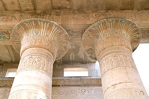 Capital (architecture) - Decorated capitals inside Ramesseum, part of the Theban Necropolis, Luxor, Egypt.