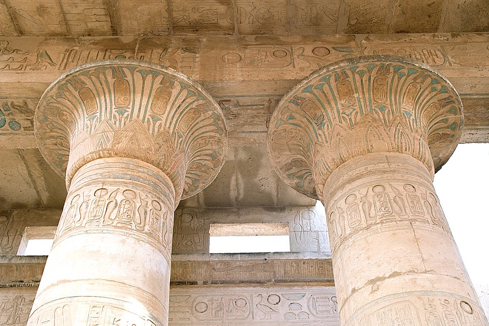 Luxor, West Bank, Ramesseum, column top decorations, Egypt, Oct 2004