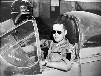 Lynn Garrison - Lynn Garrison in cockpit of RCAF Mustang, July, 1956