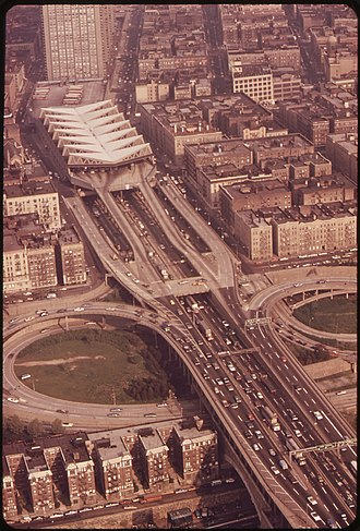 George Washington Bridge Bus Station - Aerial view of station and I-95