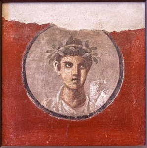 Rotulus - Image: MAN Napoli 120620 a Fresco young man with rolls from Pompeii Italy