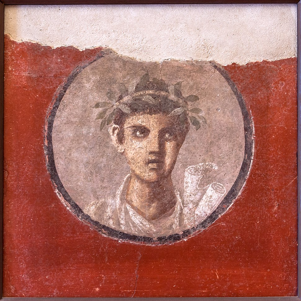 MANNapoli 120620 a Fresco young man with rolls from Pompeii Italy
