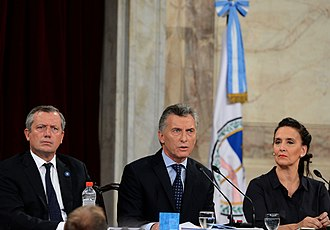 Gabriela Michetti - Michetti with President Macri and Emilio Monzo, President of the Argentine Chamber of Deputies, at the Congress Sessions Opening of 2017.
