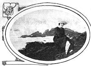 Magdalena Petit - Magdalena Petit on Las Terrazas Beach rocks, Pichilemu, 1918.