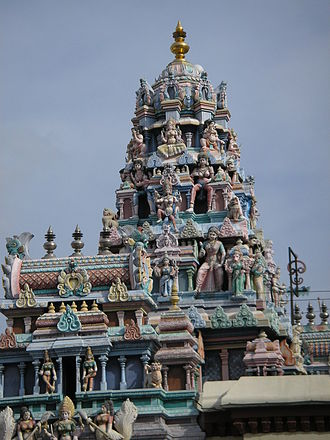 Sri Mahamariamman Temple, Penang - The Mahamariamman Temple gopuram (tower) and vimanam (dome)
