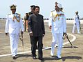 Maharashtra Governor C. Vidyasagar Rao, accompanied by Vice Admiral SPS Cheema, on his way out to visit the Headquarters of the Western Naval Command.jpg