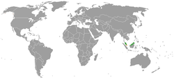 Map indicating locations of Malaysia and Singapore