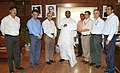 Mallikarjun Kharge receiving a cheque of Rs. 50 lakh from the Chairman cum Managing Director, IRCTC, Shri Rakesh Kumar Tondon, towards the Prime Minister's National Relief Fund for Uttarakhand flood victims.jpg