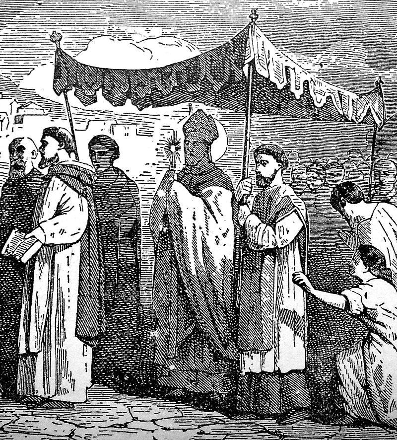 Mamertus med sakramentet i botsprosesjon, gravyr fra boken Little Pictorial Lives of the Saints (1878)