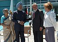 Manmohan Singh and his wife Smt. Gursharan Kaur with the President of Brazil, Mr. Luiz Inacio Lula da Silva and his wife at the welcoming ceremony at Alvorada Palace, in Brasilia, Brazil, on September 12, 2006.jpg
