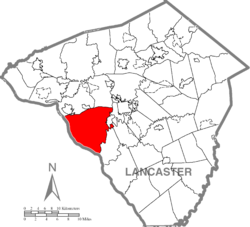 Map of Lancaster County highlighting Manor Township