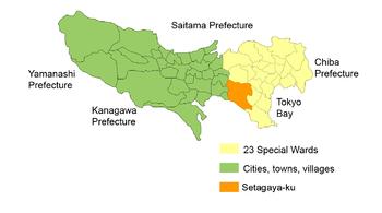 Location of Setagaya-ku in Tokyo.
