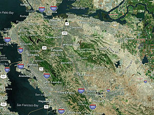 East Bay (San Francisco Bay Area) - A satellite image of the majority of the East Bay