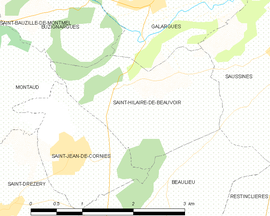 Mapa obce Saint-Hilaire-de-Beauvoir
