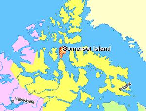 Somerset Island (Nunavut) - Image: Map indicating Somerset Island, Nunavut, Canada