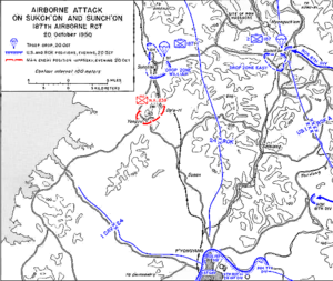 Battle of Yongju - US 187 RCT airdrop at Sukchon and Sunchon, 20–21 October 1950.