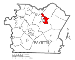 Location of Connellsville Township in Fayette County