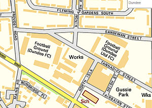 Dundee F.C. - Map showing the proximity of Dundee FC's stadium Dens Park (left) and Dundee United FC's stadium Tannadice Park (right)