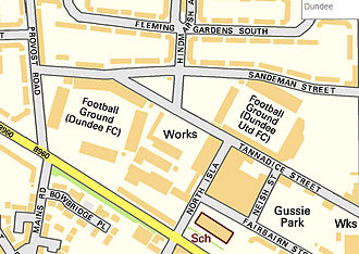 Tannadice Park - Map showing the proximity of Tannadice Park (right) to Dundee FC's stadium Dens Park (left)