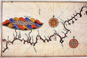 Kemal Reis - Map of Granada by the Ottoman cartographer Piri Reis, nephew of Kemal Reis, 15th century.