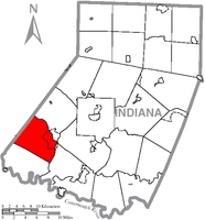 Map of Indiana County, Pennsylvania Highlighting Young Township