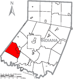 Map of Indiana County, Pennsylvania Highlighting Young Township.PNG