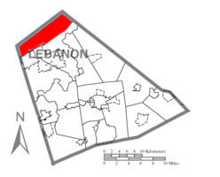 Map of Lebanon County, Pennsylvania highlighting Cold Spring Township