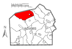 Map of Adams County, Pennsylvania highlighting Menallen Township