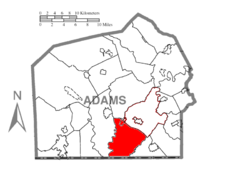 Map of Adams County, Pennsylvania highlighting Mount Joy Township