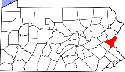 Map of Pennsylvania highlighting Northampton County.svg