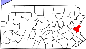 Map of Pennsylvania highlighting Northampton C...
