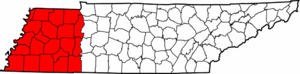 West Tennessee - Image: Map of West Tennessee counties