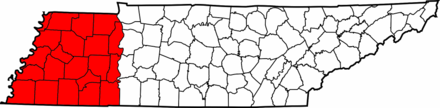 Map of Tennessee highlighting West Tennessee Map of West Tennessee counties.png
