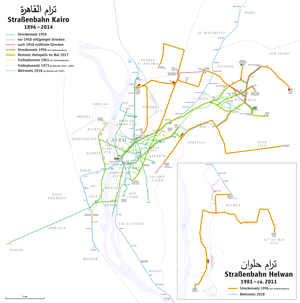 Trams in Greater Cairo - Map of the Cairo and Helwan tramway lines.