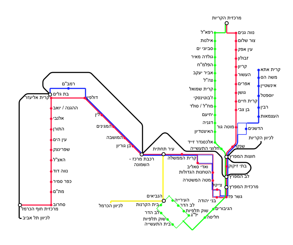 Map of the Metronit bus lines in Haifa