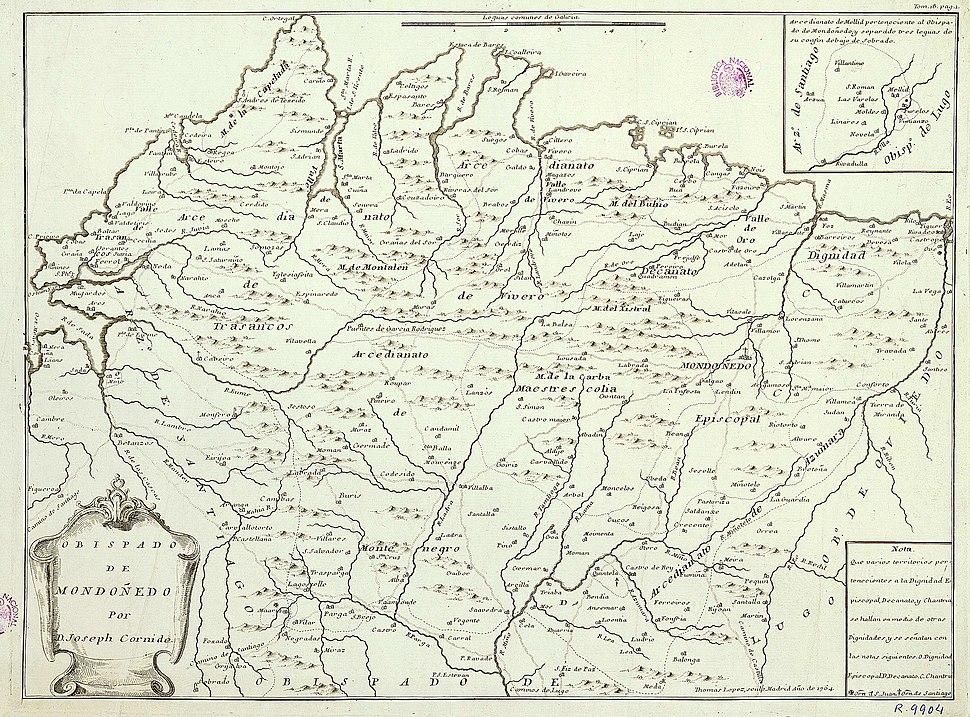 Mapa do bispado de Mondonhedo de Cornide (1764)