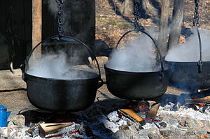 Maple syrup being prepared at the Kortright Co...