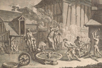 "Wheelwright - This plate published in a volume of Encyclopédie in 1769 shows both methods of shoeing a wheel. In the centre the labourers are using hammers and ""devils"" to fit a hoop onto the felloe, and on the right they're hammering strakes into place."