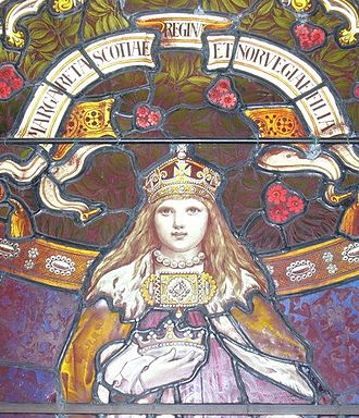 "Margaret, Maid of Norway - Lerwick Town Hall stained glass window depicting ""Margaret, queen of Scotland and daughter of Norway"""